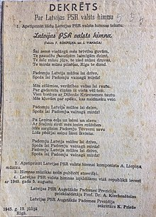 Anthem of the Latvian Soviet Socialist Republic - Wikipedia