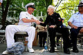 Defense.gov News Photo 100507-N-9818V-071 - Master Chief Petty Officer of the Navy Rick West meets Con Crabb on the reviewing stand for the 61st Armed Forces Day Parade in Chattanooga Tenn..jpg