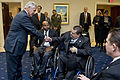 Defense Secretary Chuck Hagel greets members of the Veterans Service Organizations at the Veterans of Foreign Wars building in Washington, D.C 150127-D-DT527-078e.jpg