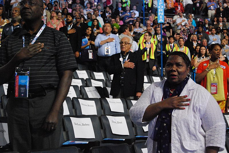 File:Delegates recite the Pledge of Allegiance at the opening of the Democratic National Convention.jpg