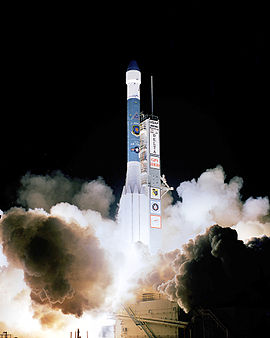 A Delta II rocket launches from Cape Canaveral carrying a GPS satellite