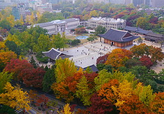 Tourism in South Korea - The Deoksugung palace in Seoul, a popular visitor attraction