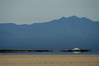 Mirage - An inferior mirage on the Mojave Desert in spring