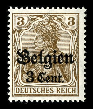 Belgium in World War I - German stamp, overprinted with Belgien (Belgium) for use in the occupied country