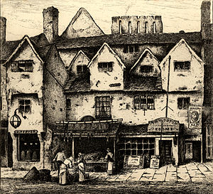 Digbeth - 19th-century etching of Digbeth by John Fullwood, now in the collection of The New Art Gallery Walsall