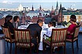 Dining with the First Family on the roof of the Ritz Carlton Hotel in Moscow, Russia, July 7, 2009.jpg