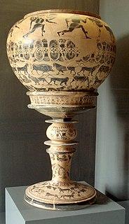 ancient attic-greek black-figure name vase of the Gorgon painter (Louvre E 874)