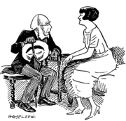 Dion Boucicault and Irene Vanbrugh depicted in a cartoon accompanying a review of a production of A. A. Milne's Mr. Pim Passes By --- Punch, 14 January 1920