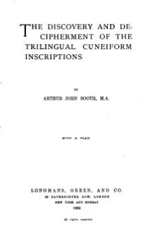 Discovery and Decipherment of the Trilingual Cuneiform Inscriptions.djvu
