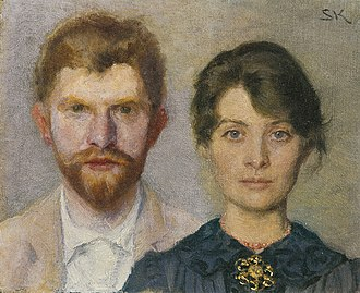 P. S. Krøyer's paintings of Marie - Dual portrait of Marie and P. S. Krøyer, 1890. Krøyer painted Marie, and Marie painted him.