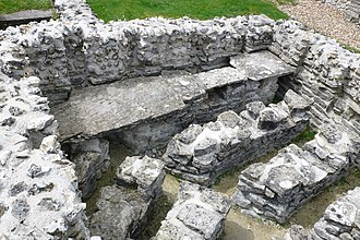 Dorchester, Dorset - Part of the Roman town house near County Hall, showing the underfloor heating system
