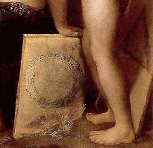 Eye music - A detail from Dosso Dossi's Allegory of Music with an anonymous canon notated in a circle and a canon by Josquin notated in a triangle. (The notes of the triangular canon can be seen on the original painting under raking light.)