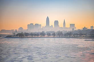 Cleveland and Lake Erie in winter. Downtown Cleveland - Cleveland Sunrise (47288342872).jpg