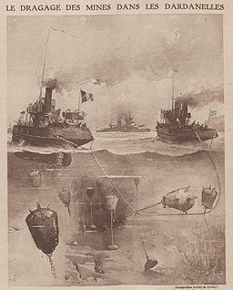 Dragage des mines dans les Dardanelles en 1915