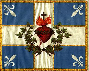 Saint-Jean-Baptiste Day - Drapeau Carillon Sacré-Cœur: A Carillon flag waved by people on Saint-Jean-Baptiste Day from its creation in 1902 until 1948. The current flag of Quebec is based on this design, and was adopted in 1948.