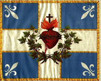 Saint-Jean-Baptiste Society - The Carillon Sacré-Coeur: The traditional flag of the SSJB