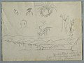 Drawing, River Bank with Mountains and Clouds, Three Botanical Sketches and Busts Studies of Men with Hats, 1853 (CH 18202481).jpg