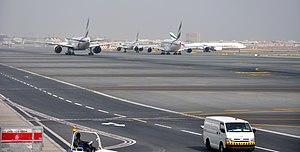 Taxiway - Aircraft taxiing to runway, at Dubai Airport
