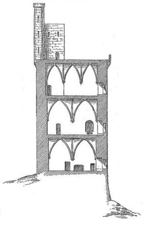 Tour Philippe-le-Bel - A cross-section of the tower looking north. The structure has an overall height of 39 m.