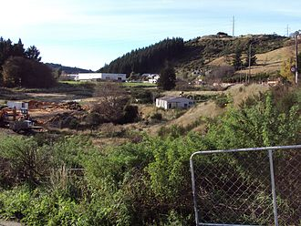 Kempthorne Prosser - The site of 1881 Kempthorne Prosser Burnside Chemical Works in Dunedin. The last remaining building is pictured at middle right.