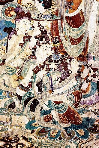 Mogao Caves - Details of painting of the meeting of Manjusri and Vimalakirti. Cave 159.