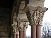 Paired columns like those at Duratón, near Sepúlveda, Spain, are a feature of Romanesque cloisters in Spain. Italy and souther France.