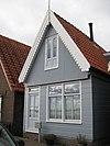 foto van Houten huis met houtskelet. Uitwendig aspect, met puntvormig voorschot, 19e/20e-eeuws