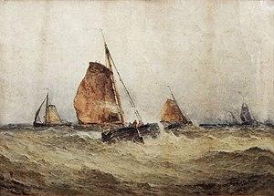 Frederick James Aldridge - Dutch Boats in the North Sea (1864)
