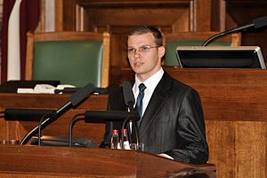 Raivis Dzintars - Dzintars addressing the Saeima on November 2, 2010