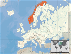 Location o  Norawa  (orange)on the European continent  (white)