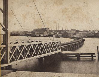 Bridgeport, Connecticut - East Bridgeport Bridge over Pequannock River, ca. 1850