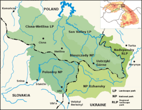 Map showing the location of East Carpathian Biosphere Reserve