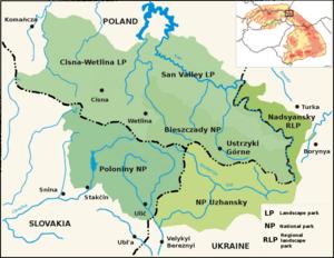 East Carpathian Biosphere Reserve - Image: East Carpathian Biosphere Reserve map (en)
