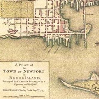 Easton's Point - Goat Island and Easton's Point with Long Wharf on the right before the marsh was filled in (1777 Newport map)