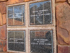 Operation Savannah (Angola) - Memorial plaques in the Voortrekker Monument for four South African servicemen killed during Operation Savannah