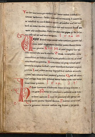 Das Eckenlied - Eckenlied stanza at the top of the page, in the Codex Buranus (c. 1230). This is the oldest transmission of the Eckenlied or of any Dietrich poem. BSB Clm 4660 fol. 90v.