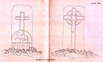Edderton Cross Slab - A 19th century illustration of the stone by Charles Carter Petley (1857).