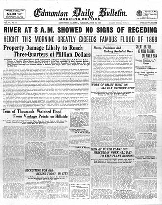 North Saskatchewan River - 29 June 1915 cover of the Edmonton Daily Bulletin