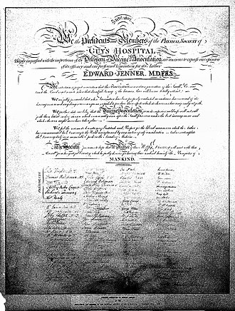 Vaccination - Jenner's 1802 testimonial to the efficacy of vaccination, signed by 112 members of the Physical Society, London