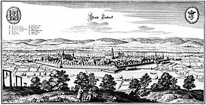 Einbeck - Etching by Matthäus Merian of the City of Einbeck after Buno dated 1654