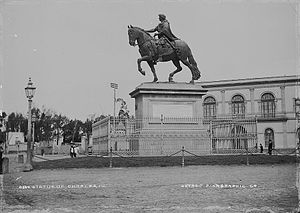 Equestrian statue of Charles IV of Spain - El Caballito, at Paseo de la Reforma and Avenida Bucareli protected by a grille