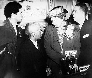 Federal Art Project - Eleanor Roosevelt at the dedication of the South Side Community Art Center, Chicago, Illinois (May 7, 1941)