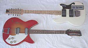 Twelve-string guitar - Two electric 12-strings, a Shergold Modulator 12 (top) and a Maton Magnetone TB36/12 (bottom); the latter is a copy of the Rickenbacker 360/12