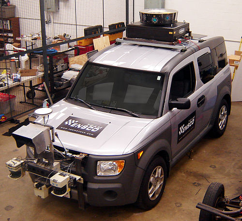 Radar, GPS, lidar, ... are all combined to provide proper navigation and obstacle avoidance (vehicle developed for 2007 DARPA Urban Challenge) ElementBlack2.jpg