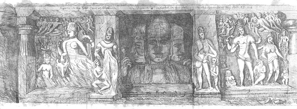 Elephanta Cave figures drawing