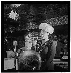 Timme Rosenkrantz - Ella Fitzgerald, Dizzy Gillespie, Ray Brown, Milt Jackson, and Timme Rosenkrantz (foreground), Downbeat, New York, N.Y., ca. Sept. 1947.  Photography by William P. Gottlieb.