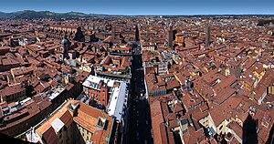 Bologna, Emilia-Romagna, Italy. Panorama westw...