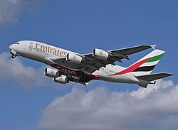 Emirates Airbus A380 (A6-EDS) departs London Heathrow 11April2015.jpg