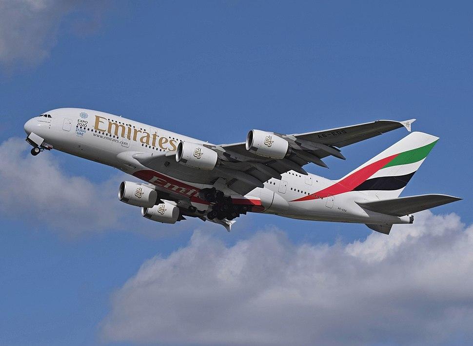 Emirates Airbus A380 (A6-EDS) departs London Heathrow 11April2015