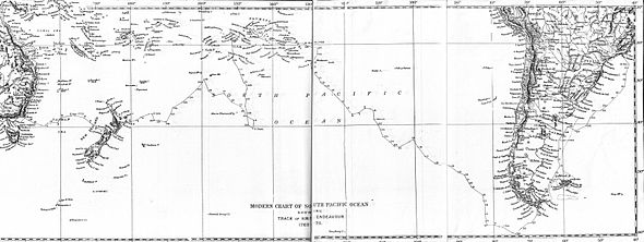 Map: A line runs from Rio de Janeiro in South America, generally southward to Cape Horn and then west and northwest through the south Pacific ocean to Tahiti and the Society Islands. The line then moves south and west to New Zealand, west to the Australian coast and north to Cape York.